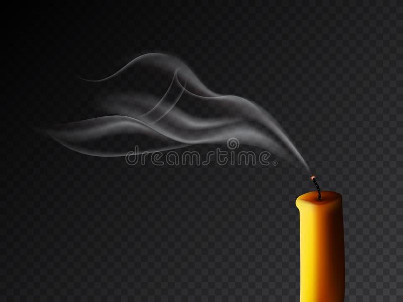 被熄灭的蜡烛以在黑暗的透明背景的烟雾 传染媒介现实例证 皇族释放例证