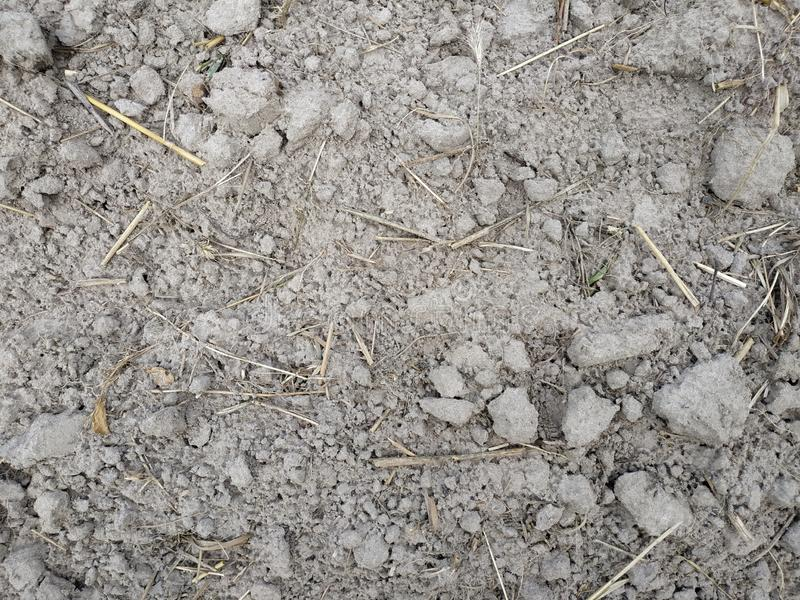 被犁的农业领域赤裸浅褐色的土壤充分的框架视图与转台式刀片轨道的 免版税库存照片