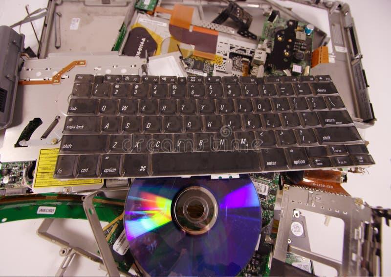 被猛击的膝上型计算机 免版税库存图片