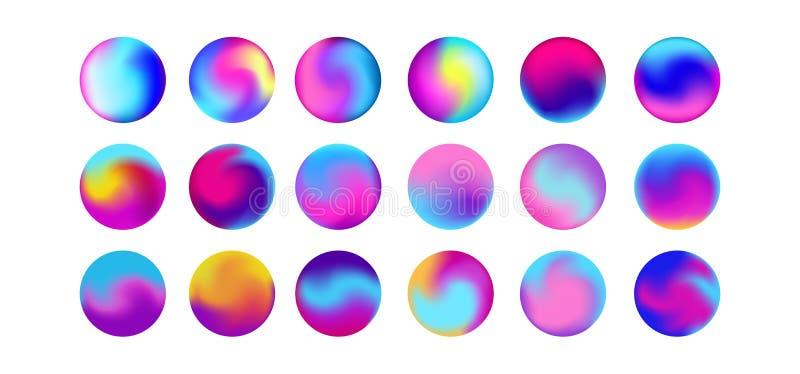 被环绕的全息照相的梯度球形按钮 多色紫色橙黄桃红色深蓝可变的圈子梯度,五颜六色 向量例证