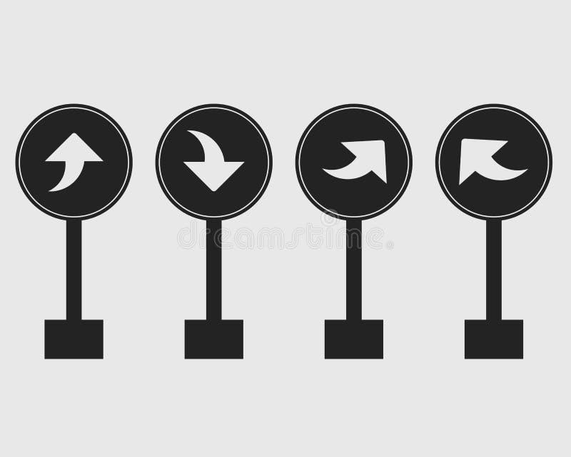 被环绕的向右转的箭头标志象套高速公路 皇族释放例证