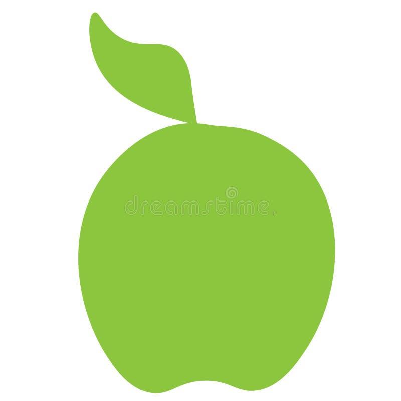 被画的绿色苹果象线 向量例证