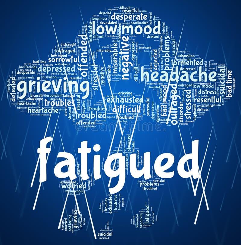 被疲劳的词展示缺乏能量和睡意 向量例证