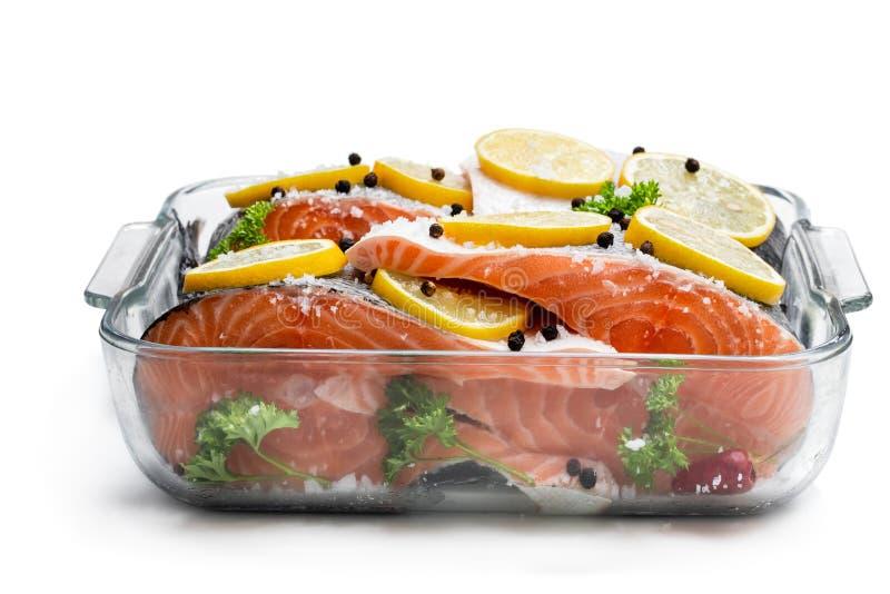 被盐溶的三文鱼用在白色隔绝的玻璃碗的柠檬 库存图片