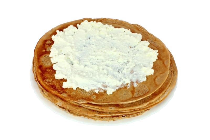 被盐溶的干酪薄煎饼 免版税图库摄影