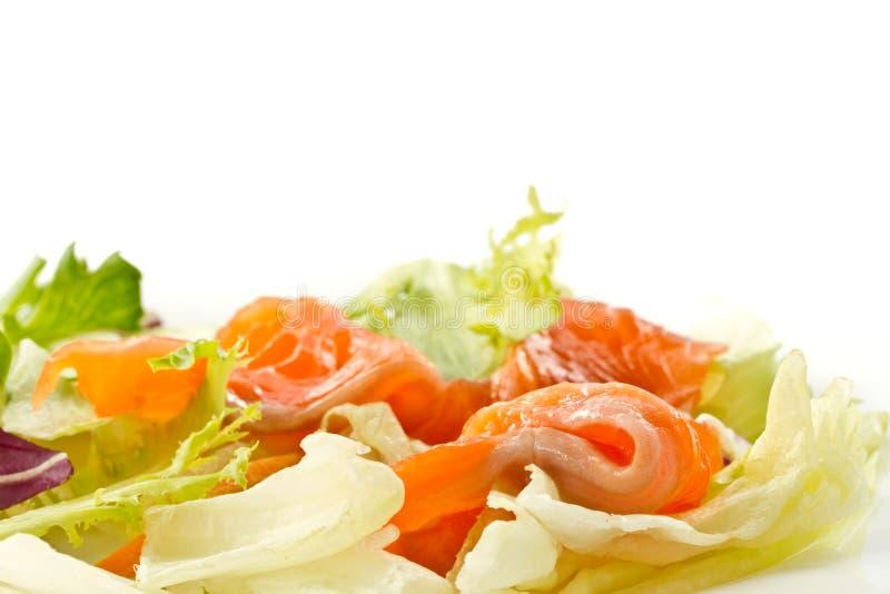 被盐溶的沙拉三文鱼 免版税库存图片