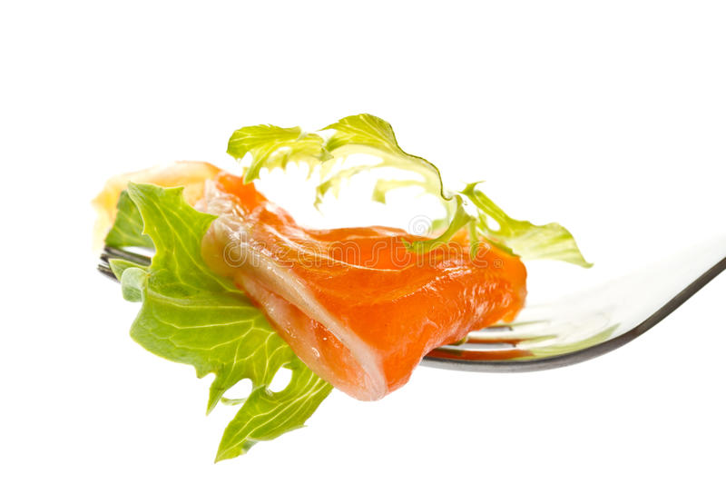 被盐溶的沙拉三文鱼 库存照片