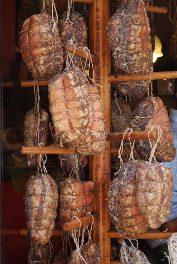 被盐溶的被治疗的肉 免版税库存照片