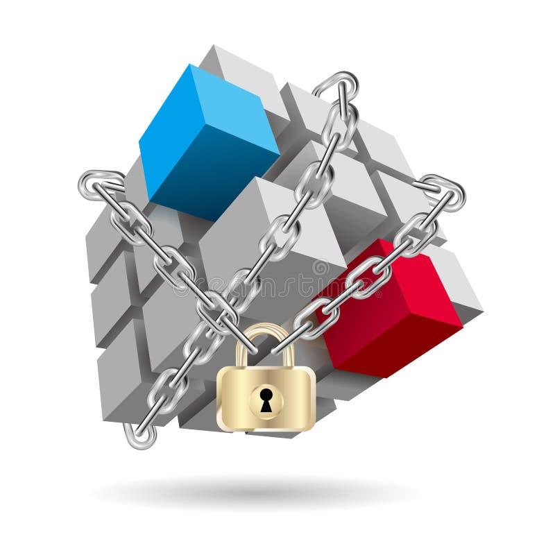 被监禁的Rubik ` s立方体 库存例证