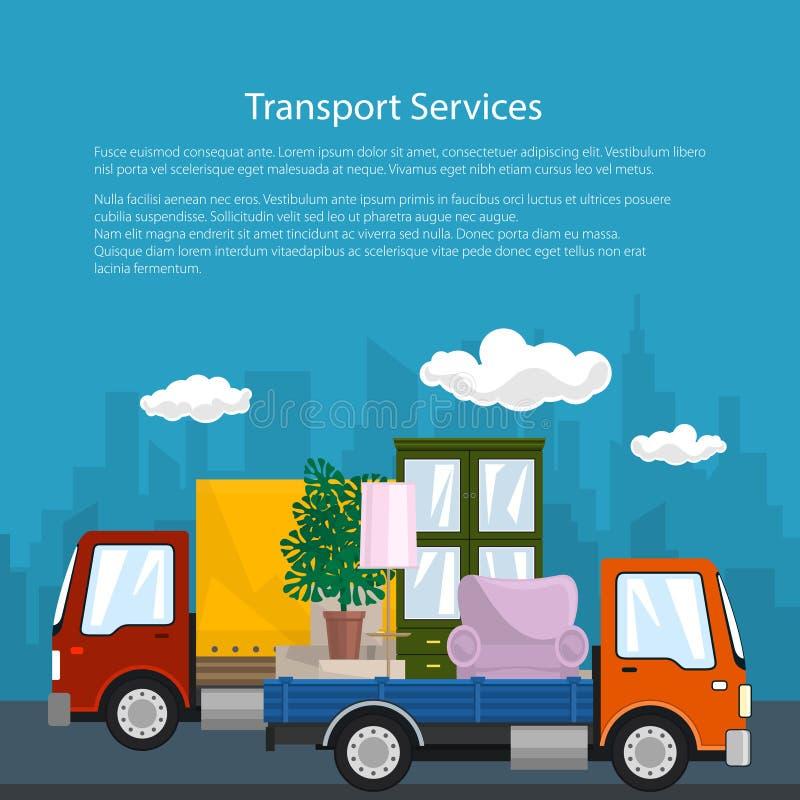 被盖的卡车和卡车有家具的,海报 皇族释放例证