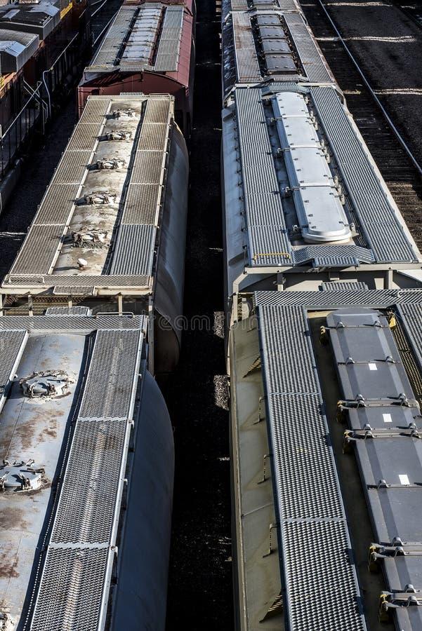 被盖的跳跃者火车汽车多条线路在轨道的在trainyard 免版税库存照片