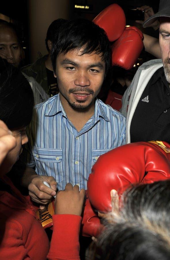 被看见的拳击手松驰manny pacquiao 库存照片