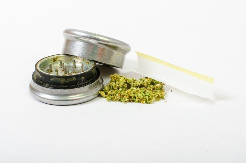 被研的医疗大麻和准备滚动 钢芽钉头切断机 免版税库存照片