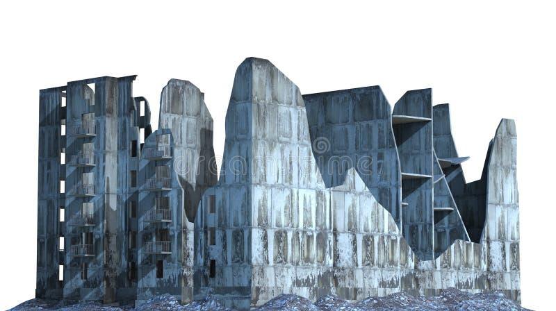 被破坏的大厦在白色3D例证隔绝了 向量例证
