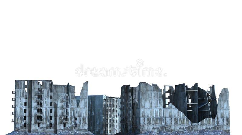 被破坏的大厦在白色3D例证隔绝了 库存例证