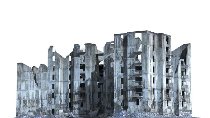 被破坏的大厦在白色3D例证隔绝了 皇族释放例证