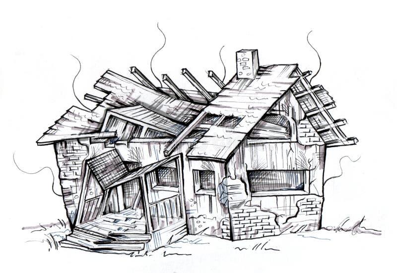 被破坏的房子老 毁坏由火 向量例证