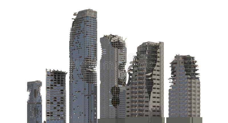 被破坏的摩天大楼在白色3D例证隔绝了 库存例证