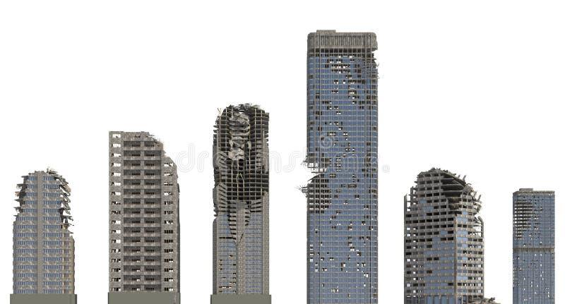 被破坏的摩天大楼在白色3D例证隔绝了 皇族释放例证
