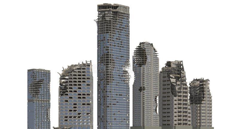 被破坏的摩天大楼在白色3D例证隔绝了 向量例证