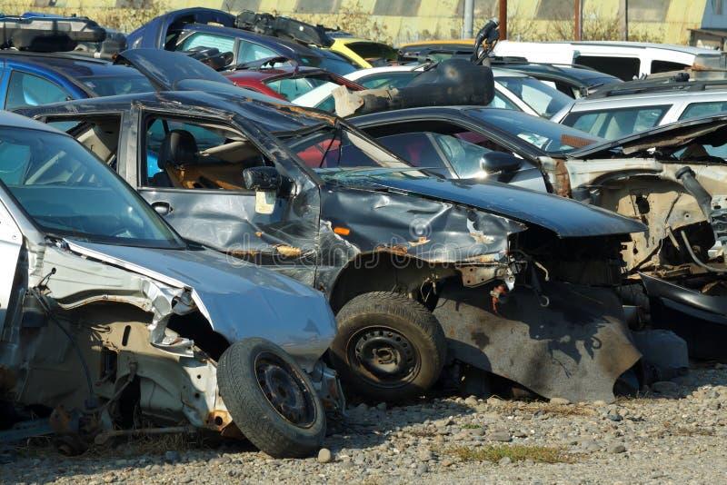 被砸的汽车 库存图片