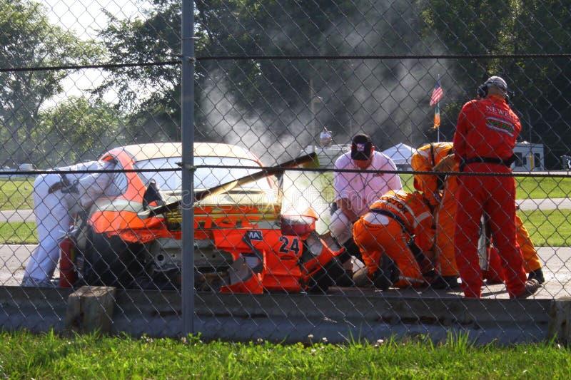 被碰撞的赛车 免版税库存图片