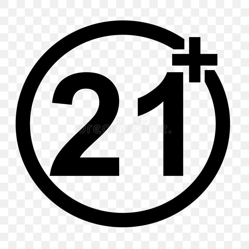 被禁止的标志,21的以上,在透明作用backgrund 向量例证