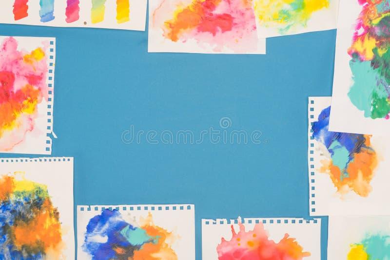 被稀释的油漆剪影顶视图  免版税库存照片