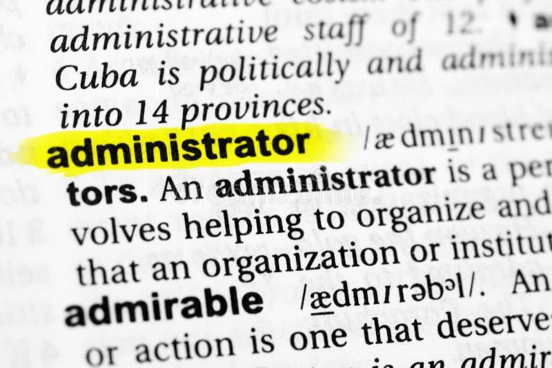 被突出的英国词管理员和它的定义在字典 图库摄影