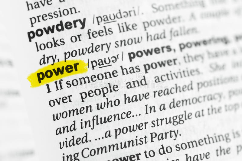 被突出的英国词`力量`和它的定义在字典 图库摄影