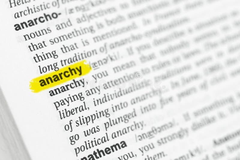 被突出的英国词`无政府状态`和它的定义在字典 免版税库存图片