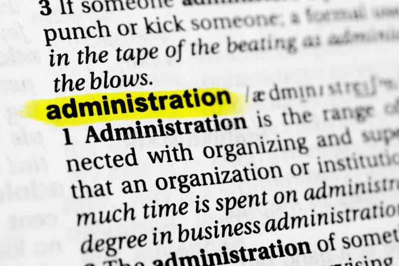 被突出的英国词`管理`和它的定义在字典 库存照片
