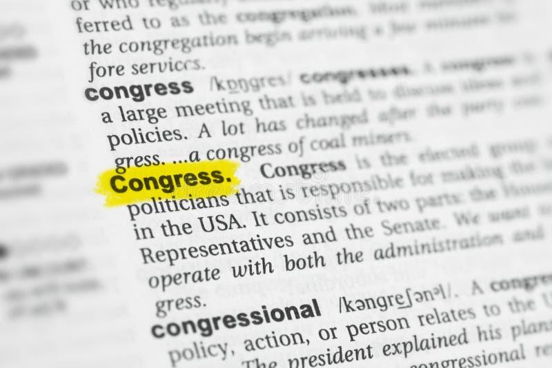 被突出的英国词& x22; Congress& x22;并且它的在字典的定义 库存照片