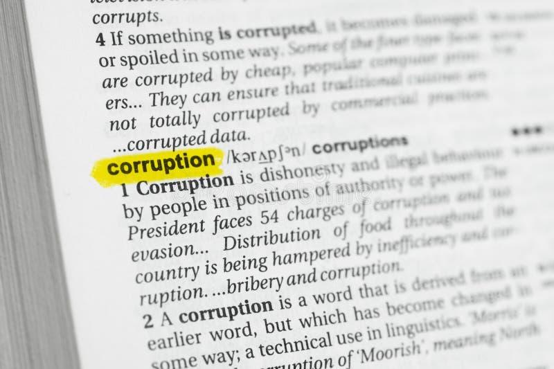 被突出的英国词& x22; corruption& x22;并且它的在字典的定义 免版税图库摄影