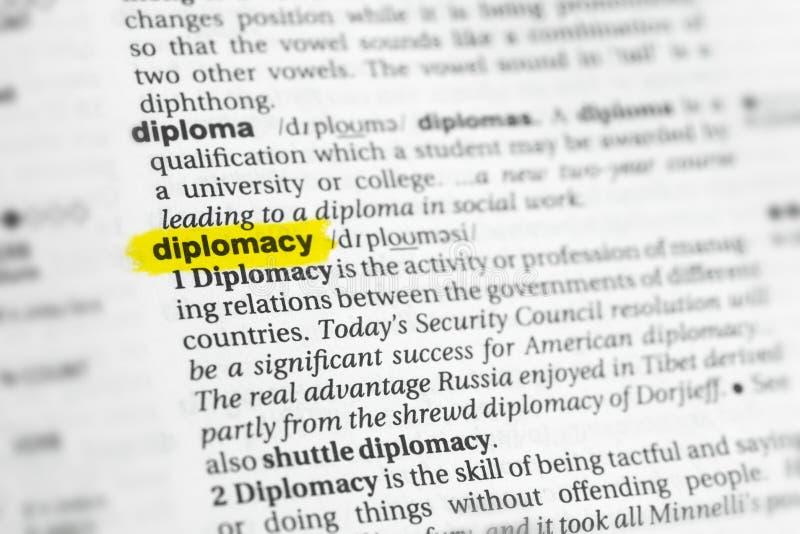 被突出的英国词& x22; diplomacy& x22;并且它的在字典的定义 免版税库存图片