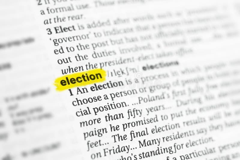 被突出的英国词& x22; election& x22;并且它的在字典的定义 免版税库存图片