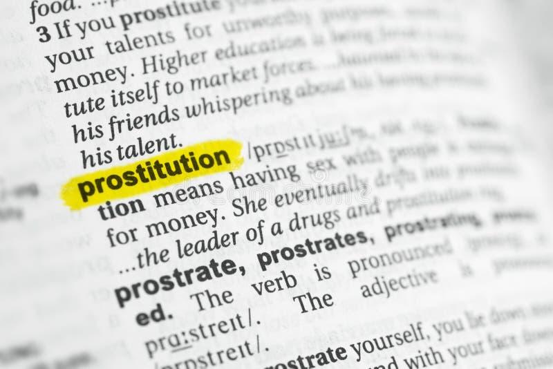 被突出的英国词& x22; prostitution& x22;并且它的在字典的定义 免版税库存图片