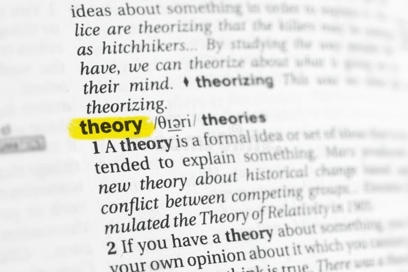 被突出的英国词& x22; theory& x22;并且它的在字典的定义 库存照片