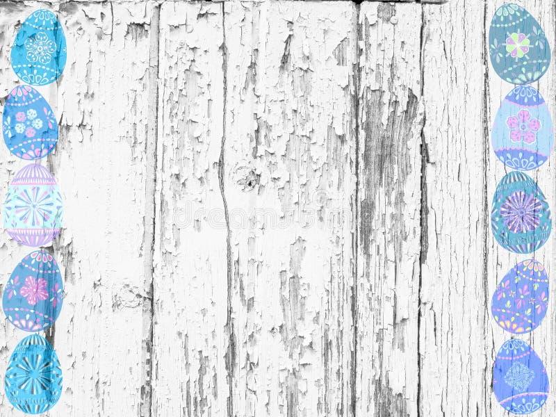 被粉刷的木头和复活节彩蛋背景纹理 库存例证