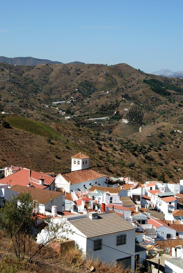 白色村庄, Iznate,安大路西亚,西班牙。 库存照片