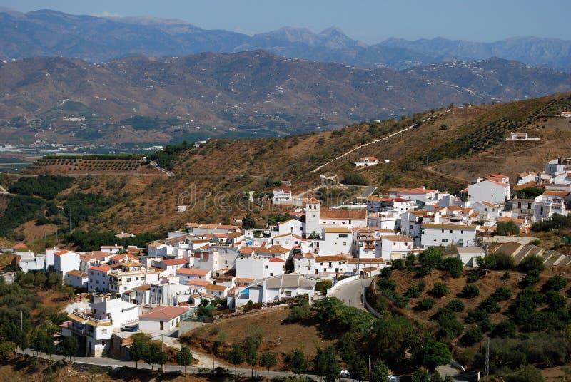 白色村庄, Iznate,安大路西亚,西班牙。 免版税库存照片