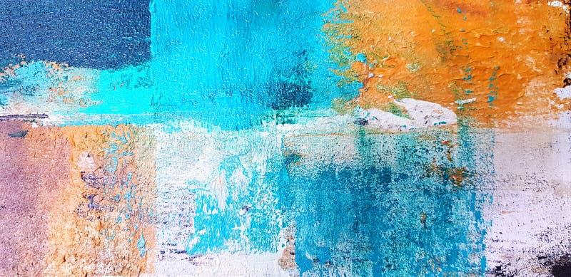 被绘的五颜六色的艺术和抽象绘画在帆布背景的通过使用丙烯酸酯的颜色样式 库存例证