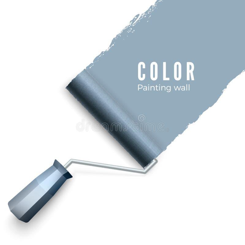 被绘的墙壁和漆滚筒 漆滚筒刷子 当绘与路辗时,上色油漆纹理 查出的向量例证 向量例证