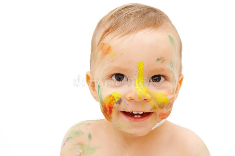 被绘的婴孩表面 免版税库存照片
