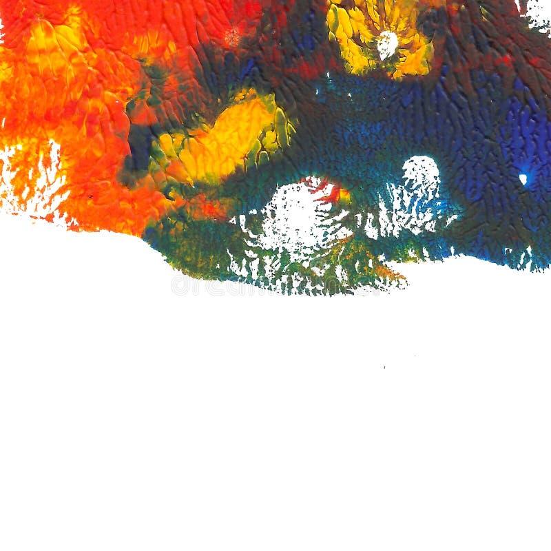 被绘的抽象丙烯酸酯的背景 在白色的红色,橙色,蓝色,黄色充满活力的颜色 向量例证