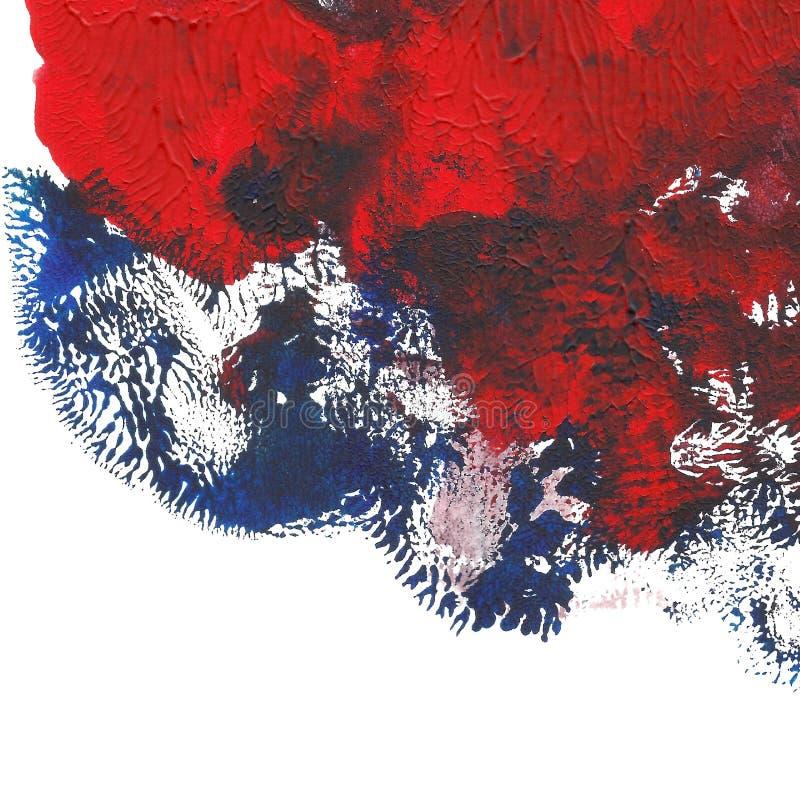 被绘的抽象丙烯酸酯的背景 红色蓝色织地不很细充满活力的颜色 您的设计的难看的东西模板 库存例证
