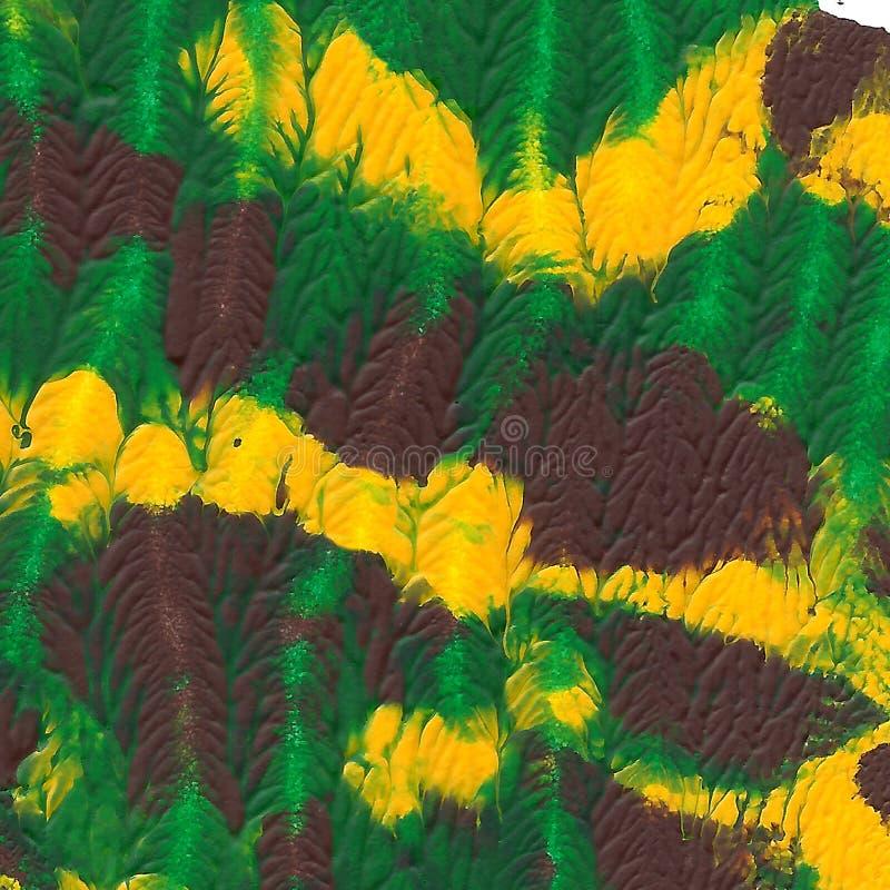 被绘的抽象丙烯酸酯的背景 绿色,棕色,黄色织地不很细充满活力的颜色 您的设计的难看的东西模板 免版税库存照片