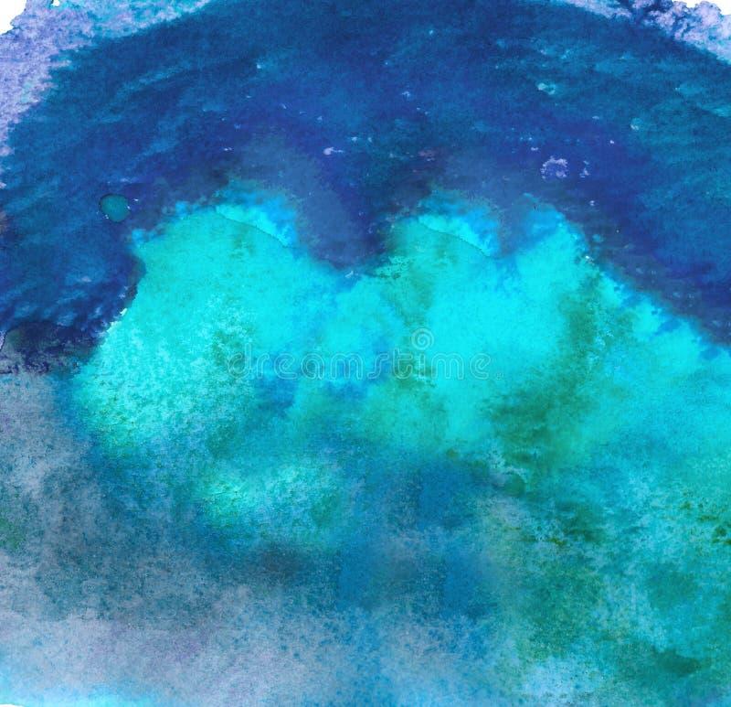 被绘的抽象丙烯酸酯的背景 蓝色织地不很细充满活力的颜色 您的设计的难看的东西模板 皇族释放例证