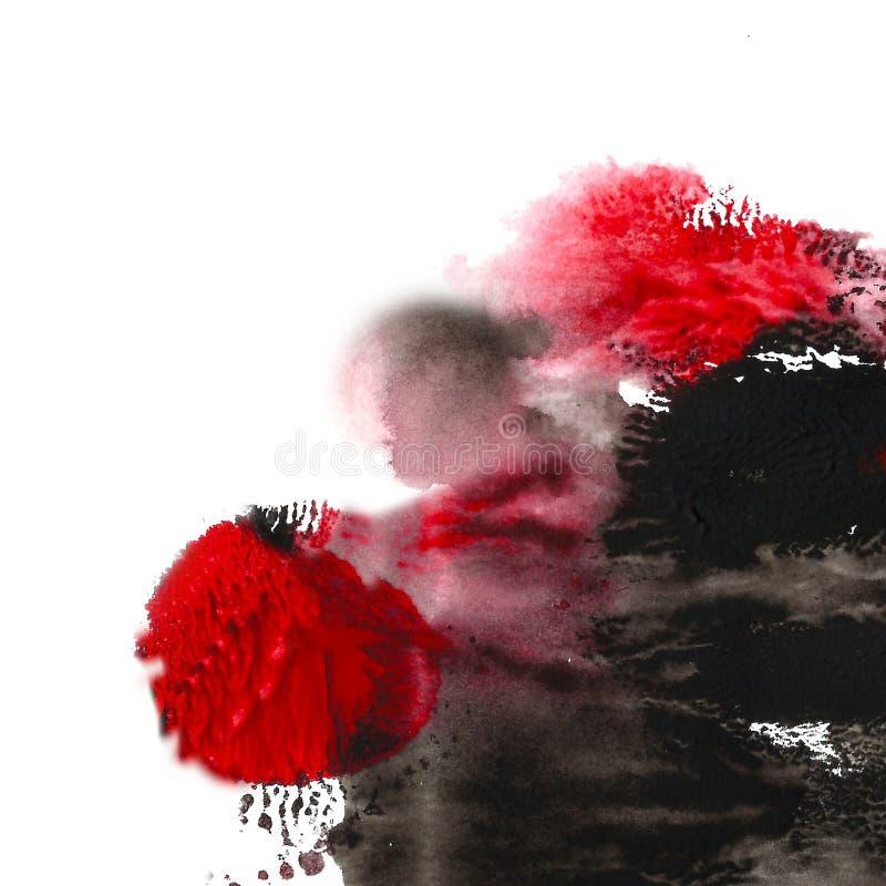 被绘的抽象丙烯酸酯的背景 黑色,红色织地不很细充满活力的颜色 您的设计的难看的东西模板 皇族释放例证
