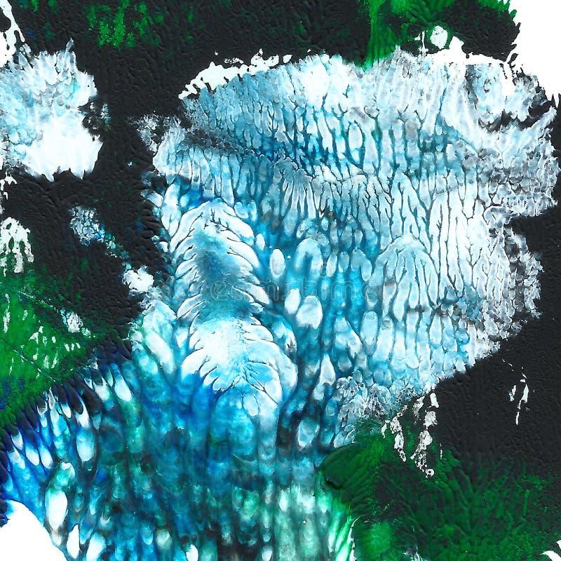 被绘的抽象丙烯酸酯的背景 黑,绿色,蓝色织地不很细充满活力的颜色 您的设计的难看的东西模板 库存例证